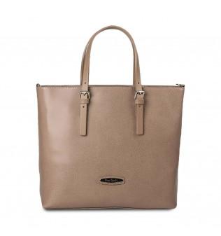 "Geanta tip Tote din piele tip ""Pecary"", marca ""Pierre Cardin"" - Taupe"